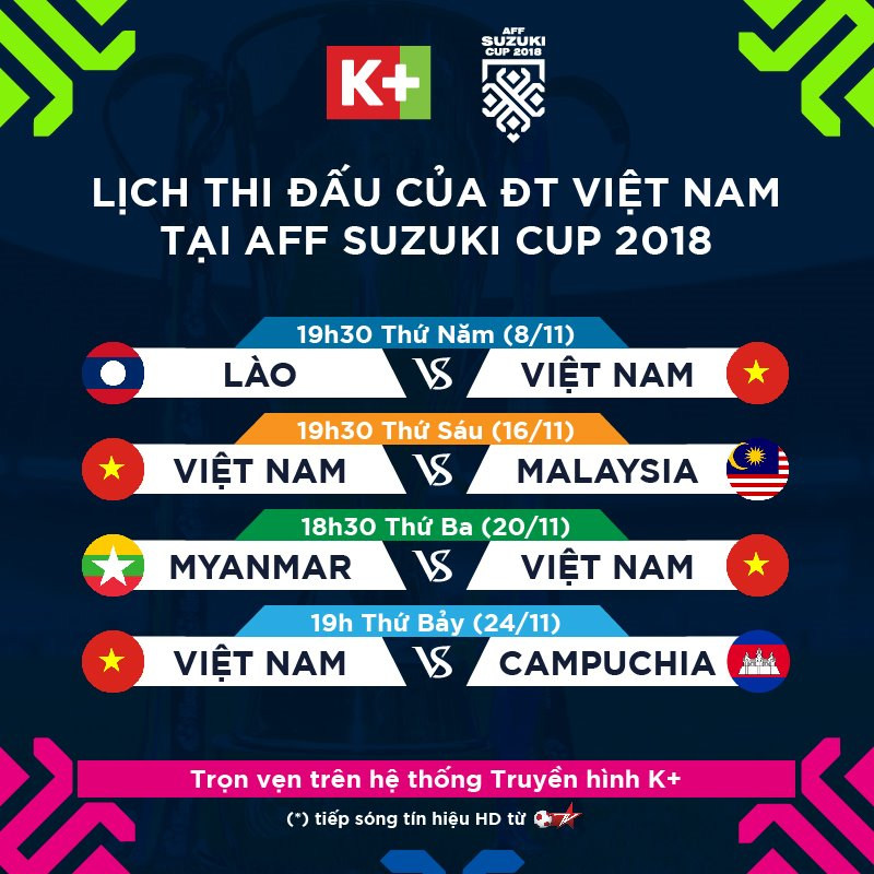 K+ phát sóng toàn bộ các trận đấu thuộc giải AFF Suzuki Cup 2018